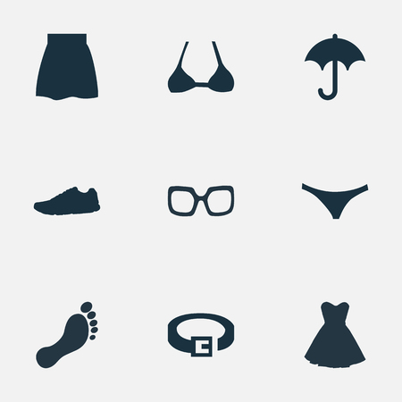 Vector Illustration Set Of Simple Clothes Icons. Elements Barefoot, Exercise Foorwear, Strap And Other Synonyms Protect, Underpants And Lingerie.