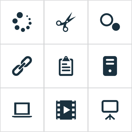 Vector Illustration Set Of Simple UI Icons. Elements Laptop, System Unit, Schedule And Other Synonyms Unit, Work And Tools. Illustration
