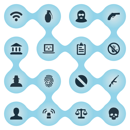 Vector Illustration Set Of Simple Police Icons. Elements Justice, Narcotic, Explode And Other Synonyms Gangster, Automatic And Court.