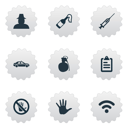 Vector Illustration Set Of Simple Police Icons. Elements Inspector, Vaccine, Explosive And Other Synonyms Detective, Volunteer And Inspector.