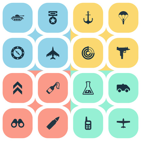 Vector Illustration Set Of Simple Terror Icons. Elements Rank, Magnet Navigator, Firearm And Other Synonyms Spyglass, Walkies And Firearm. Illustration