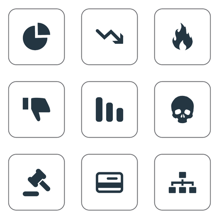 impasse: Vector Illustration Set Of Simple Situation Icons. Elements Head Bone, Tribunal, Net And Other Synonyms Business, Circular And Down.