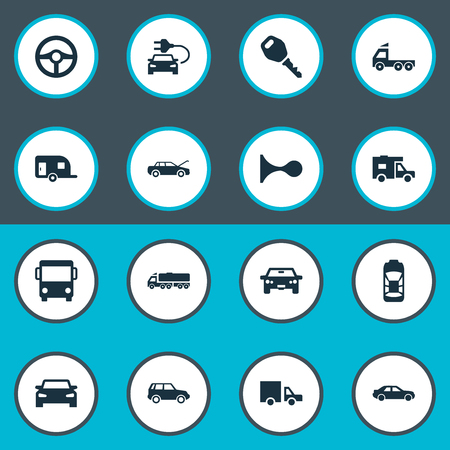 Vector Illustration Set Of Simple Transport Icons. Elements Tour Bus, Automobile, Steering Wheel And Other Synonyms Trucking, Trucks And Mega.