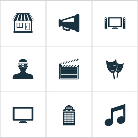 Vector Illustration Set Of Simple Film Icons. Elements Spectator, Grocery, Home Cinema And Other Synonyms Note, 3D And Decoration. Illustration