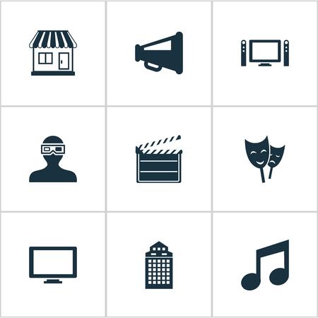 Vector illustratie Set van eenvoudige film iconen. Elements Spectator, Grocery, Home Cinema en andere synoniemen Opmerking, 3D en decoratie.