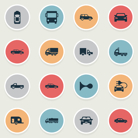 Vector Illustration Set Of Simple Car Icons. Elements Caravan, Repair, Driving And Other Synonyms Haulage, Auto And Delivery. Illustration