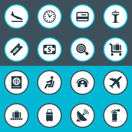 Vector Illustration Set Of Simple Plane Icons. Elements Flight Control Tower, Alighting Plane, Seat And Other Synonyms Seat, Conveyor And Extinguisher.