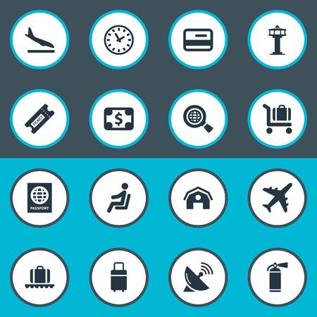 벡터 일러스트 레이 션 간단한 비행기 아이콘의 집합입니다. 요소 비행 제어 탑, 하강 비행기, 좌석 및 기타 동의어 좌석, 컨베이어 및 소화기.