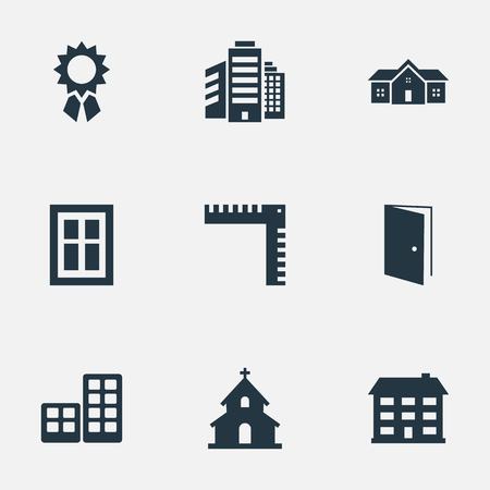 superstructure: Vector Illustration Set Of Simple Architecture Icons. Elements Reward, Glazing, Popish And Other Synonyms Home, Superstructure And Ruler.