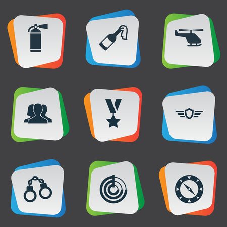 manacle: Vector Illustration Set Of Simple Battle Icons. Elements Magnet Navigator, Molotov, Military Order And Other Synonyms Order, Handcuffs And Shield.