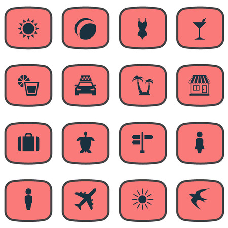 Vector Illustration Set Of Simple Seaside Icons. Elements Suitcase, Beverage, Palm And Other Synonyms Turtle, Heat And Car.