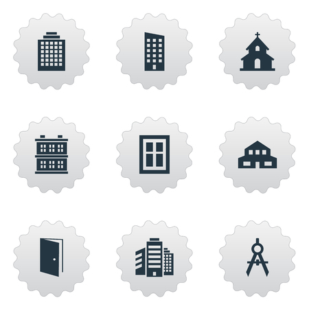 superstructure: Vector Illustration Set Of Simple Construction Icons. Elements Engineer Tool, Residential, Superstructure And Other Synonyms Religious, Residential And Scale.