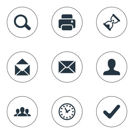 벡터 일러스트 레이 션 간단한 응용 프로그램 아이콘의 집합입니다. 요소 봉투, 사용자, 조심 및 기타 동의어 돋보기, 타이머 및 팀. 일러스트