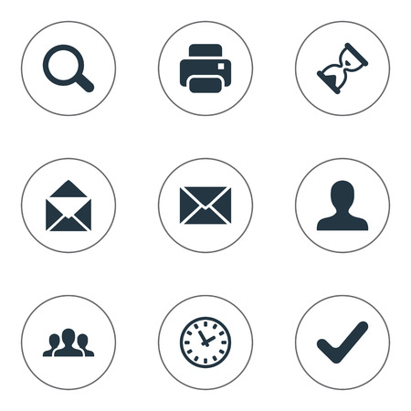 Vector Illustration Set Of Simple Application Icons. Elements Envelope, User, Watch And Other Synonyms Magnifier, Timer And Team.