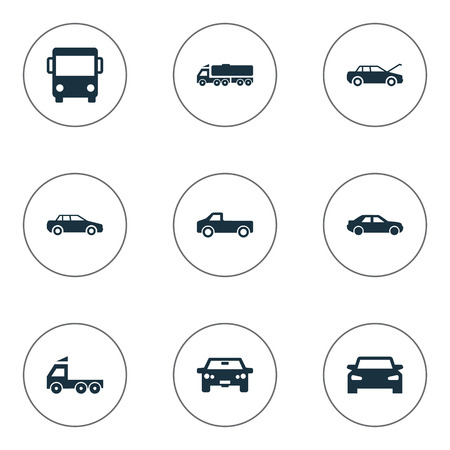 Vector Illustration Set Of Simple Auto Icons. Elements Tour Bus, Repairing Service, Driving And Other Synonyms Trucks, Bus And Haulage. Illustration