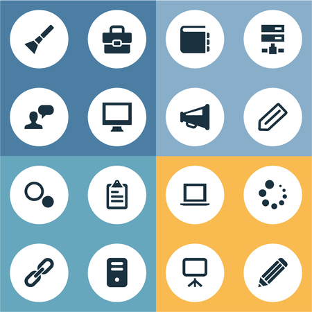 Vector Illustration Set Of Simple UI Icons. Elements List, Tag, Settings And Other Synonyms Flashlight, Choice And Badge.