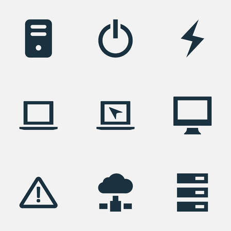 Vector Illustration Set Of Simple Laptop Icons. Elements Data Center, Switch Button, System Unit And Other Synonyms Button, Display And Monitor. Illustration