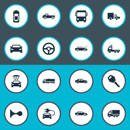 Vector Illustration Set Of Simple Transport Icons. Elements Camion, Traffic, Car Charging And Other Synonyms Parking, Automobile And Bus. Illustration