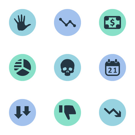 Vector Illustration Set Of Simple Crisis Icons. Elements Downward, Bankroll, Palm And Other Synonyms Arm, Arrows And Downcast.