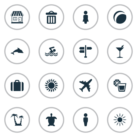 Vector Illustration Set Of Simple Beach Icons. Elements Male, Beach Games, Woman And Other Synonyms Baggage, Hot And Swimming.