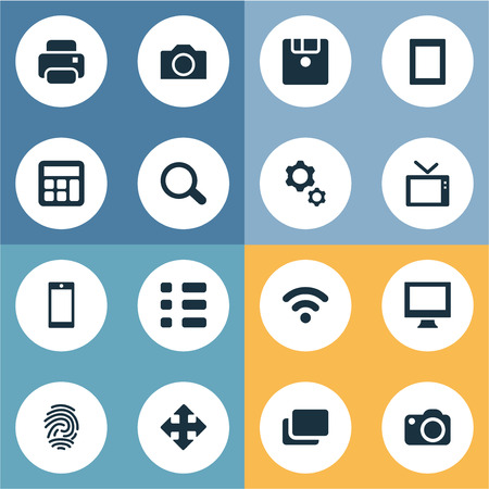 note pad: Vector Illustration Set Of Simple Gadget Icons. Elements Schedule, Television, Camera And Other Synonyms Branch, Options And Display. Illustration