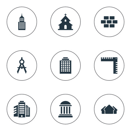 Vector Illustration Set Of Simple Architecture Icons. Elements Popish, Offices, Shelter And Other Synonyms Church, Superstructure And Wall.