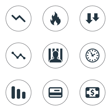 jailer: Vector Illustration Set Of Simple Situation Icons. Elements Penitentiary, Line Chart, Descending And Other Synonyms Jailer, Time And Clock.