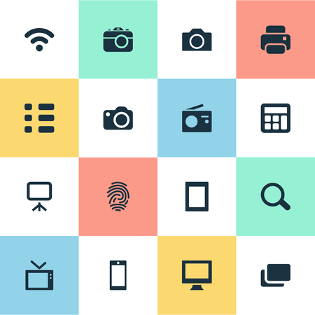 Vector Illustration Set Of Simple Device Icons. Elements Wireless Connection, Photocopier, Schedule And Other Synonyms Report, Search And Computer.