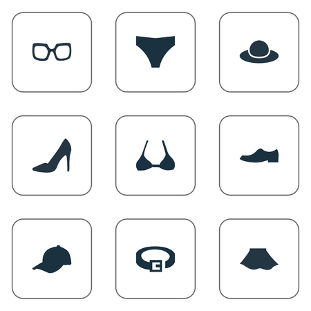 Vector Illustration Set Of Simple Wardrobe Icons. Elements Female Cloth, Sport Headwear, Footwear And Other Synonyms Optic, Apparel And Male.