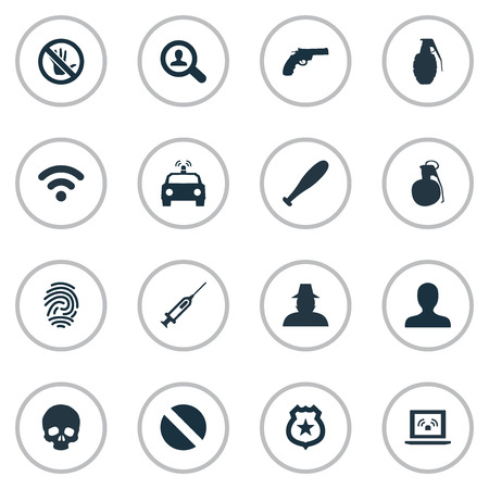 Vector Illustration Set Of Simple Crime Icons. Elements Explode, Narcotic, Touch Forbidden And Other Synonyms Prohibited, Western And Search.