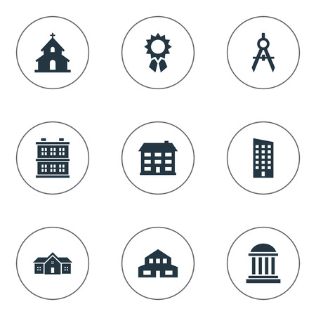 Vector Illustration Set Of Simple Structure Icons. Elements Residence, School, Floor And Other Synonyms Premises, Cottage And Museum. Illustration