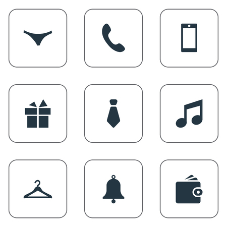 telephone icons: Vector Illustration Set Of Simple Accessories Icons. Elements Cravat, Hanger, Underwear And Other Synonyms Hanger, Telephone And Musical.