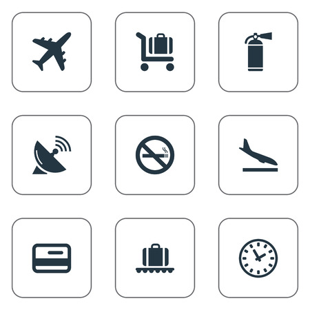 Vector Illustration Set Of Simple Airport Icons. Elements Cigarette Forbidden, Alighting Plane, Antenna And Other Synonyms Landing, Fire And Cart.