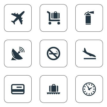 벡터 일러스트 레이 션 간단한 공항 아이콘의 집합입니다. 요소 담배 금지, 비행기, 안테나 및 기타 동의어 방문, 화재 및 장바구니.