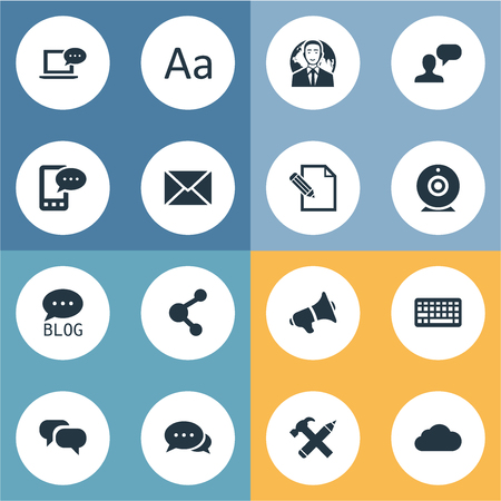 Vector Illustration Set Of Simple Blogging Icons. Elements Broadcast, Site, Document And Other Synonyms International, Overcast And Conversation. Illustration