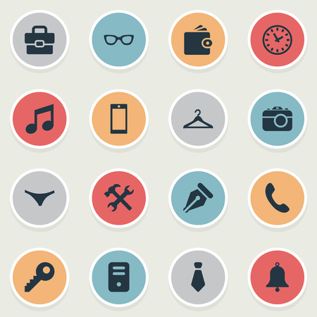 Vector Illustration Set Of Simple Accessories Icons. Elements Call Button, Billfold, System Unit And Other Synonyms Bell, Nib And Wallet. Illustration