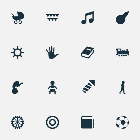 Vector Illustration Set Of Simple Infant Icons. Elements Train, Fetus, Palm And Other Synonyms Fetus, Finger And Football.
