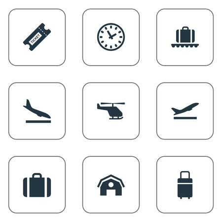 벡터 일러스트 레이 션 간단한 여행 아이콘의 집합입니다. 비행기, 여행 가방, 항공 운송 및 기타 동의어 수하물, 헛간 및 쿠폰. 일러스트