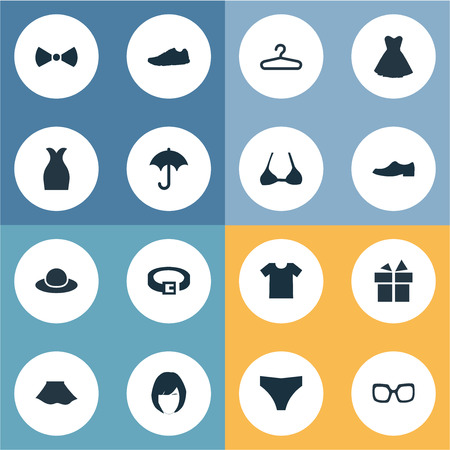 Vector Illustration Set Of Simple Wardrobe Icons. Elements Brasserie, Strap, Present And Other Synonyms Briefs, T-Shirt And Running. Stok Fotoğraf - 74385453