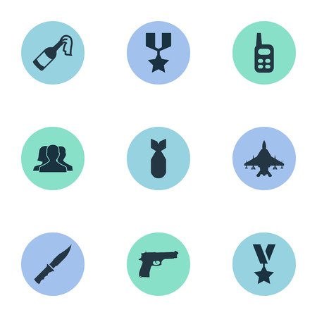 outsider: Vector Illustration Set Of Simple War Icons. Elements Molotov, Nuke, Sky Force And Other Synonyms Nuke, Pistol And Military.