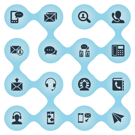 reverse: Vector Illustration Set Of Simple Connect Icons. Elements Postage, Intercommunication, Epistle Author And Other Synonyms Talking, Man And Communicator. Illustration
