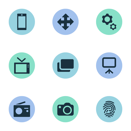 Vector Illustration Set Of Simple Hardware Icons. Elements Layout, Camera, Tuner And Other Synonyms Projector, Radio And Document. Ilustrace