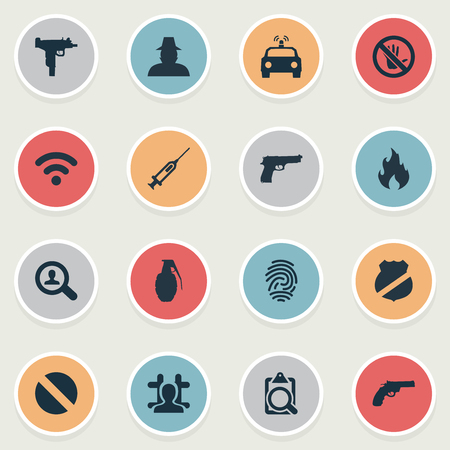 Vector Illustration Set Of Simple Offense Icons. Elements File, Blaze, Touch Forbidden And Other Synonyms Prohibited, Flame And Wireless.