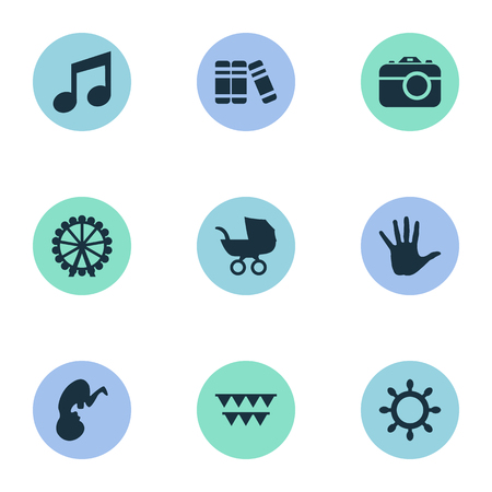 Vector Illustration Set Of Simple Infant Icons. Elements Fetus, Camera, Bookshop And Other Synonyms Unborn, Camera And Photo.