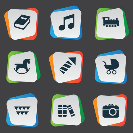 Vector Illustration Set Of Simple Baby Icons. Elements Festival, Stroller, Sparkler And Other Synonyms Stroller, Book And Sparklers. Illustration