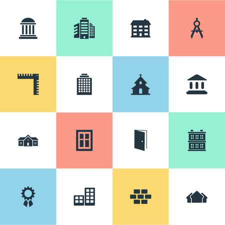 Vector Illustration Set Of Simple Structure Icons. Elements Flat, Academy, Block And Other Synonyms Superstructure, Booth And Residence. Illustration