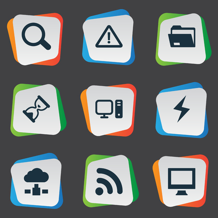 Vector Illustration Set Of Simple Notebook Icons. Elements Battery, Monitor, Dossier And Other Synonyms Folder, Search And Monitor. Illustration