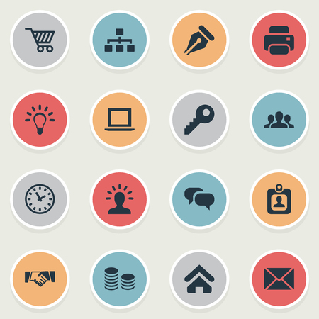 Vector Illustration Set Of Simple Trade Icons. Elements House Location, User, Group And Other Synonyms Watch, Cipher And Net.