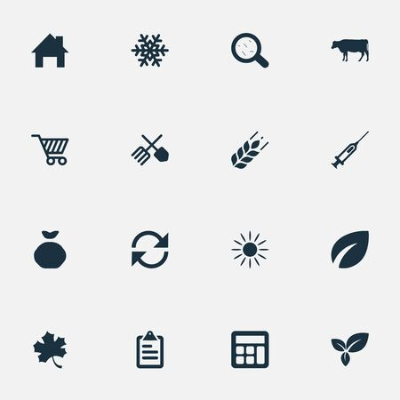 Vector Illustration Set Of Simple Harvest Icons. Elements Cart, Sack, Sunshine And Other Synonyms Sunlight, Recycle And Accounting.