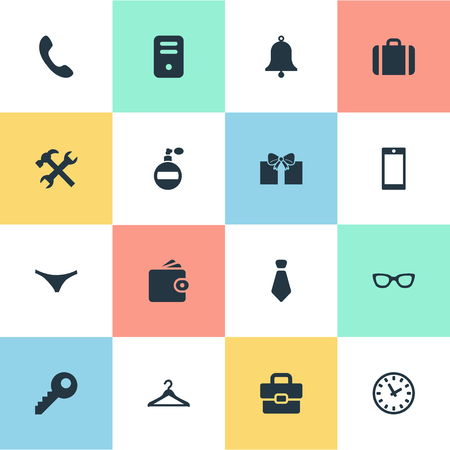 Vector Illustration Set Of Simple Accessories Icons. Elements Call Button, Billfold, Fragrance And Other Synonyms Hanger, Hook And Underpants. Illustration